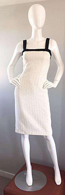 Michael Kors Collection White and Black Textured Cotton + Silk Signature Dress For Sale 4