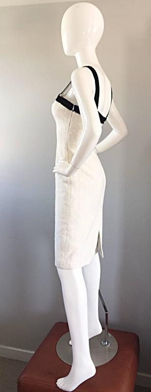 Michael Kors Collection White and Black Textured Cotton + Silk Signature Dress For Sale 1