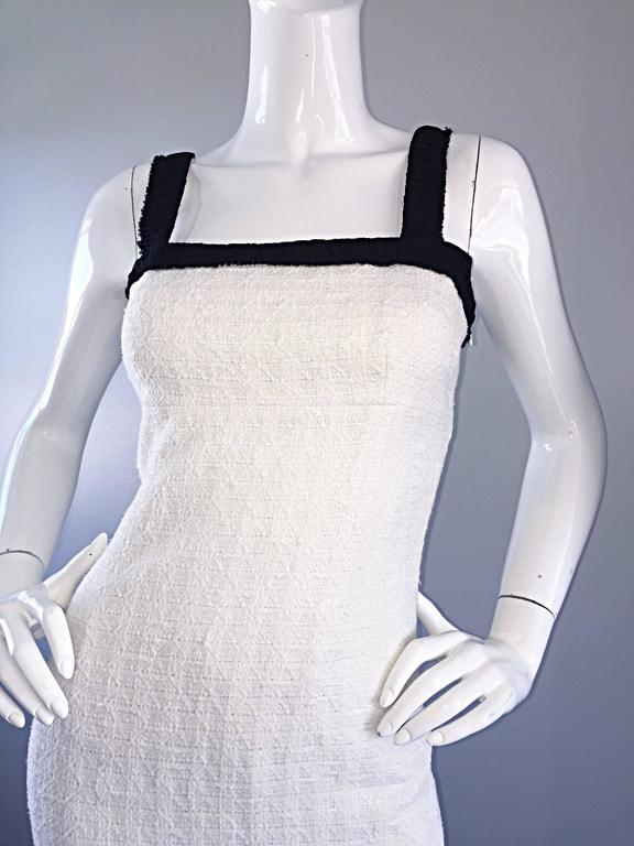 Michael Kors Collection White and Black Textured Cotton + Silk Signature Dress 3