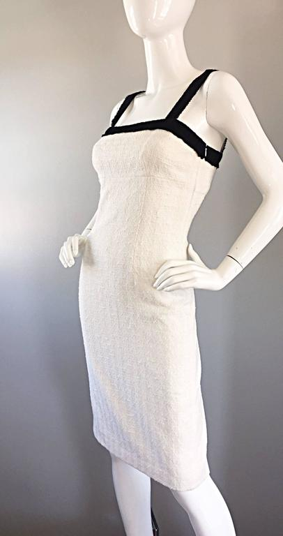 Women's Michael Kors Collection White and Black Textured Cotton + Silk Signature Dress For Sale