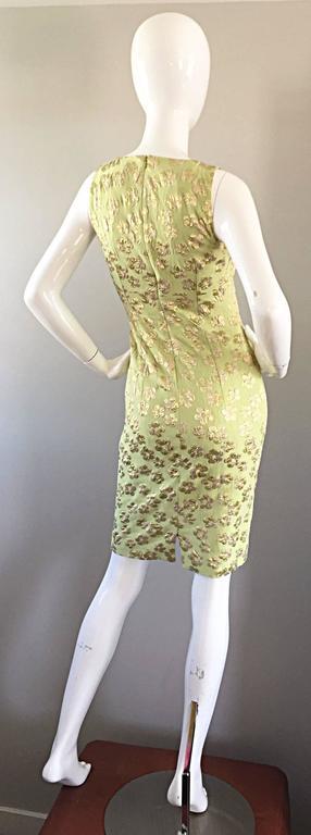 New Michael Kors Collection Mint Green + Gold Silk Plisse Flower Dress Size 2 8