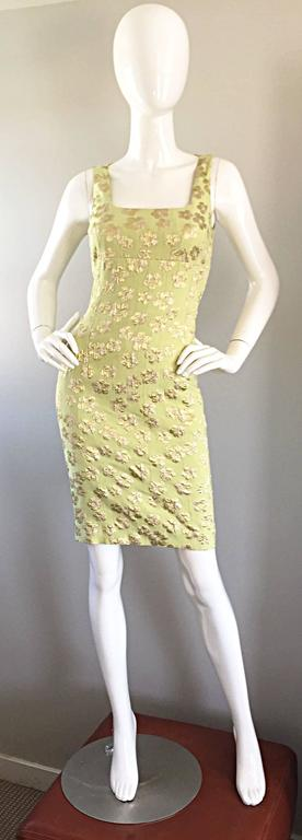 New Michael Kors Collection Mint Green + Gold Silk Plisse Flower Dress Size 2 9