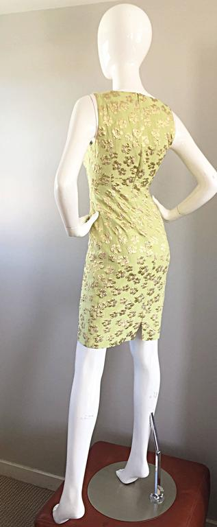 New Michael Kors Collection Mint Green Gold Silk Plisse Flower Dress Size 2 For