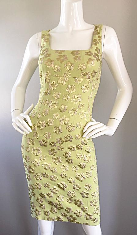 New Michael Kors Collection Mint Green + Gold Silk Plisse Flower Dress Size 2 6