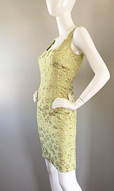 New Michael Kors Collection Mint Green + Gold Silk Plisse Flower Dress Size 2 4