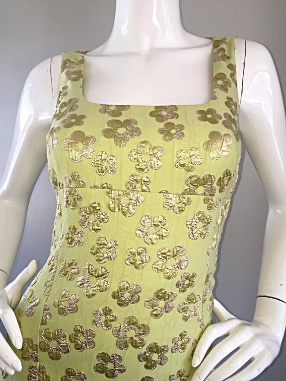 New Michael Kors Collection Mint Green + Gold Silk Plisse Flower Dress Size 2 3