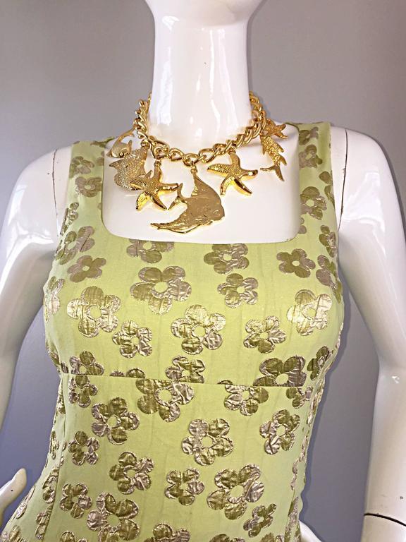 New Michael Kors Collection Mint Green + Gold Silk Plisse Flower Dress Size 2 7