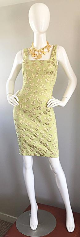 New Michael Kors Collection Mint Green + Gold Silk Plisse Flower Dress Size 2 2