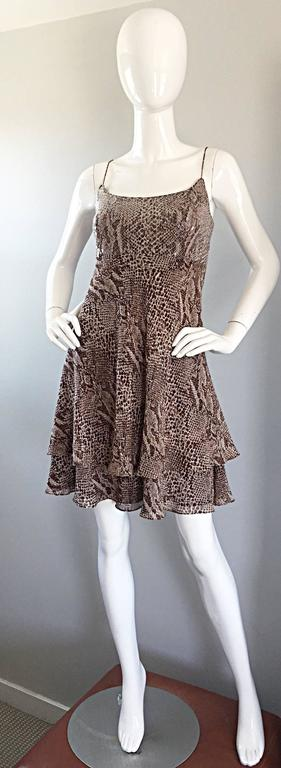 1990s Lillie Rubin Silk Chiffon Sequin Snakeskin Print
