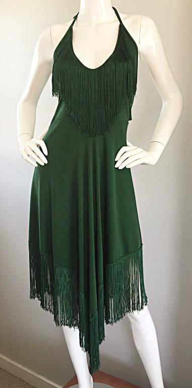 Spectacular 1970s David Howard Forest Green Fringed Handkerchief Vintage Dress In Excellent Condition For Sale In San Francisco, CA