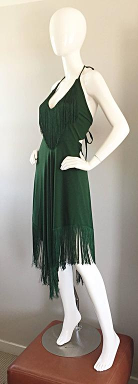 Women's Spectacular 1970s David Howard Forest Green Fringed Handkerchief Vintage Dress For Sale