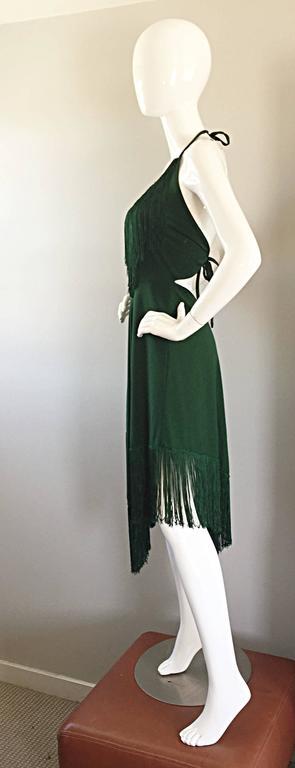 Spectacular 1970s David Howard Forest Green Fringed Handkerchief Vintage Dress For Sale 1