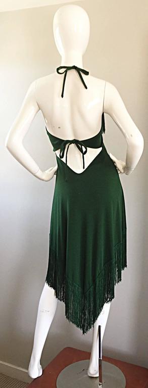 Spectacular 1970s David Howard Forest Green Fringed Handkerchief Vintage Dress For Sale 2