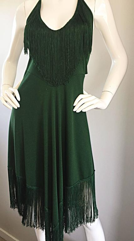 Spectacular 1970s David Howard Forest Green Fringed Handkerchief Vintage Dress For Sale 3