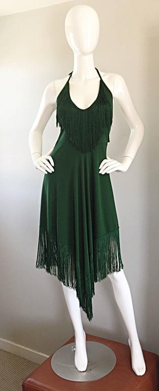 Spectacular 1970s David Howard Forest Green Fringed Handkerchief Vintage Dress For Sale 4