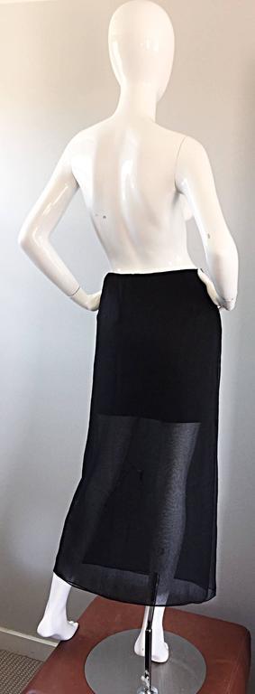 Women's NWT 1990s Alberta Ferretti Saks 5th Ave Black Silk Mini Skirt w/ Chiffon Overlay For Sale