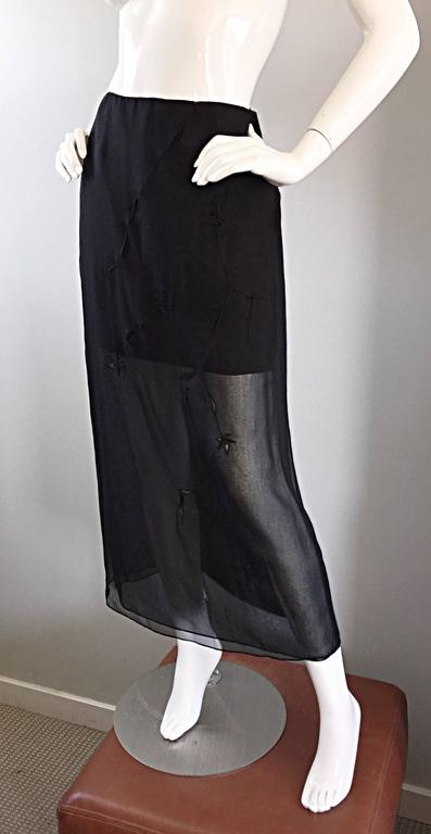 NWT 1990s Alberta Ferretti Saks 5th Ave Black Silk Mini Skirt w/ Chiffon Overlay For Sale 3