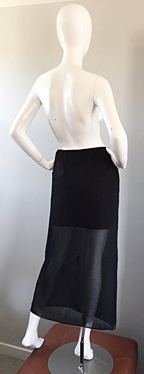 NWT 1990s Alberta Ferretti Saks 5th Ave Black Silk Mini Skirt w/ Chiffon Overlay For Sale 2