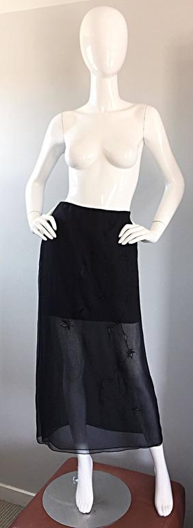 NWT 1990s Alberta Ferretti Saks 5th Ave Black Silk Mini Skirt w/ Chiffon Overlay For Sale 5