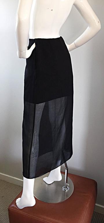 NWT 1990s Alberta Ferretti Saks 5th Ave Black Silk Mini Skirt w/ Chiffon Overlay For Sale 4