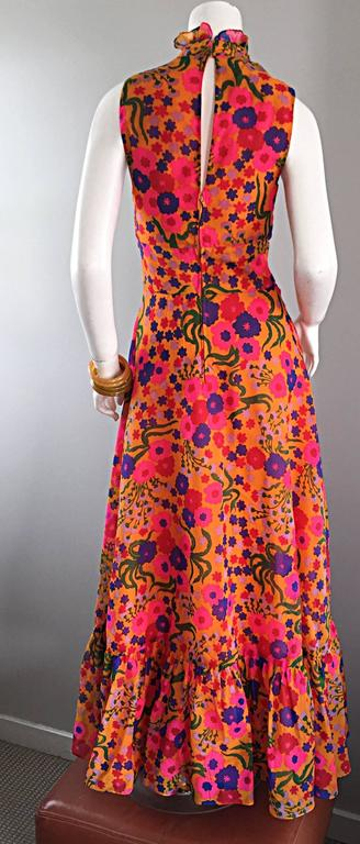 Amazing 1970s 70s Colorful Psychedelic Chiffon Floral Ruffle Vintage Maxi Dress For Sale 2