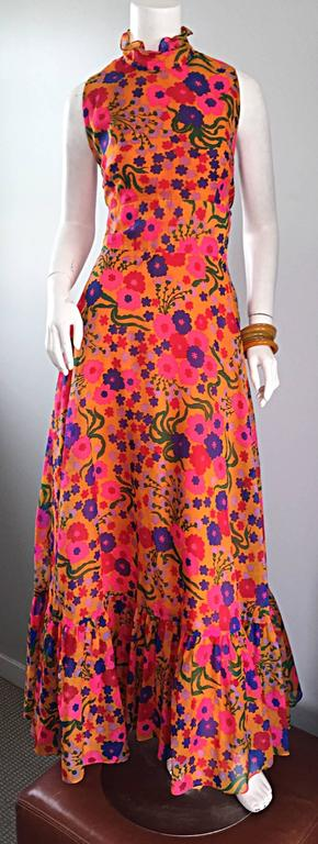 Amazing 1970s 70s Colorful Psychedelic Chiffon Floral Ruffle Vintage Maxi Dress For Sale 3