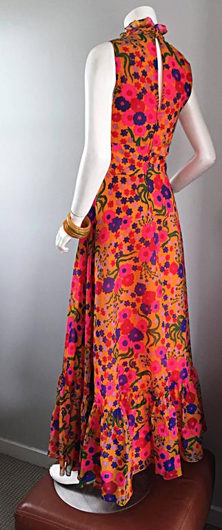 Women's Amazing 1970s 70s Colorful Psychedelic Chiffon Floral Ruffle Vintage Maxi Dress For Sale
