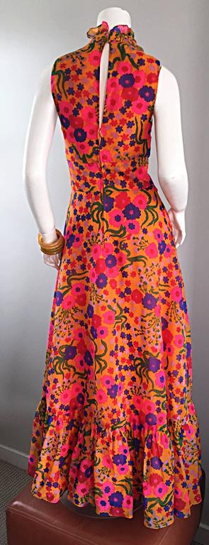 Amazing 1970s 70s Colorful Psychedelic Chiffon Floral Ruffle Vintage Maxi Dress In Excellent Condition For Sale In San Francisco, CA