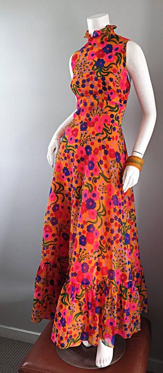Amazing 1970s 70s Colorful Psychedelic Chiffon Floral Ruffle Vintage Maxi Dress For Sale 1
