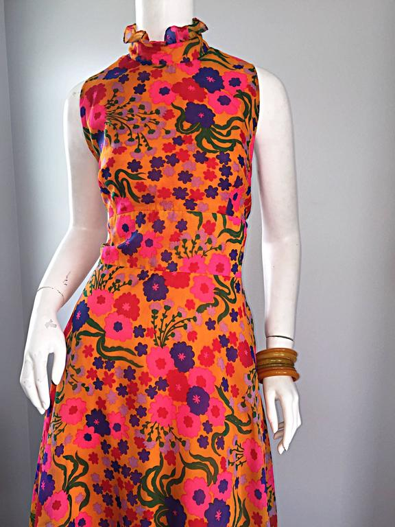 Orange Amazing 1970s 70s Colorful Psychedelic Chiffon Floral Ruffle Vintage Maxi Dress For Sale