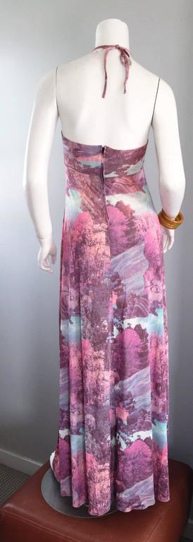 Amazing 1970s Tree Print Novelty 70s Vintage Printed Waterfall Boho Maxi Dress  For Sale 4