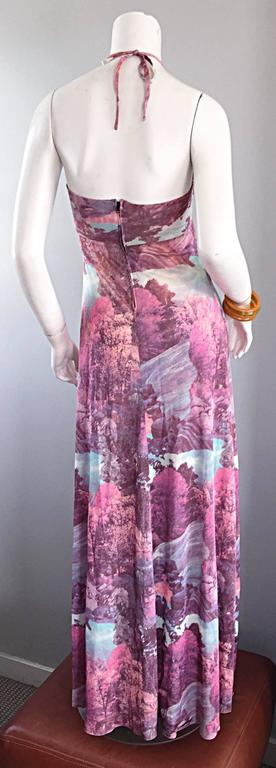 Amazing 1970s Tree Print Novelty 70s Vintage Printed Waterfall Boho Maxi Dress  For Sale 2