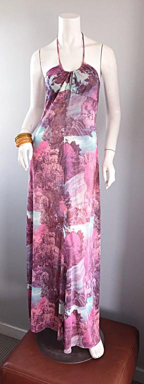 Amazing 1970s Tree Print Novelty 70s Vintage Printed Waterfall Boho Maxi Dress  For Sale 5