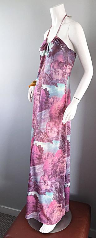 Amazing 1970s Tree Print Novelty 70s Vintage Printed Waterfall Boho Maxi Dress  In Excellent Condition For Sale In Chicago, IL