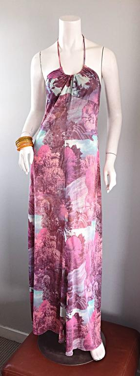 Amazing 1970s vintage novelty halter maxi dress! I have never seen another dress quite like this, and most likely never will again. Features an all-over print of autumn trees and waterfalls...A soothing, yet statement worthy print on an utterly chic