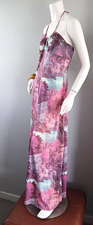 Amazing 1970s Tree Print Novelty 70s Vintage Printed Waterfall Boho Maxi Dress  For Sale 3