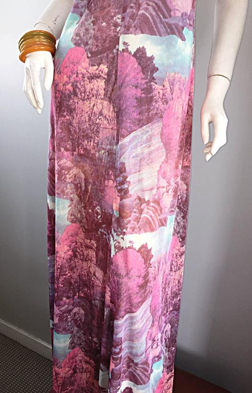 Amazing 1970s Tree Print Novelty 70s Vintage Printed Waterfall Boho Maxi Dress  For Sale 1