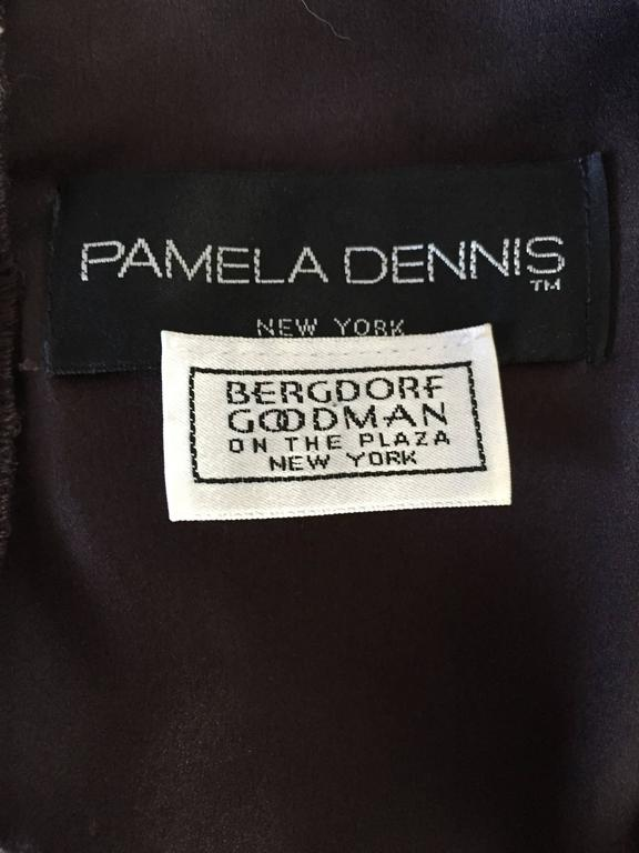 1990s Pamela Dennis Couture Size 8 Vintage Chocolate Brown Sequin Taffeta Gown For Sale 5