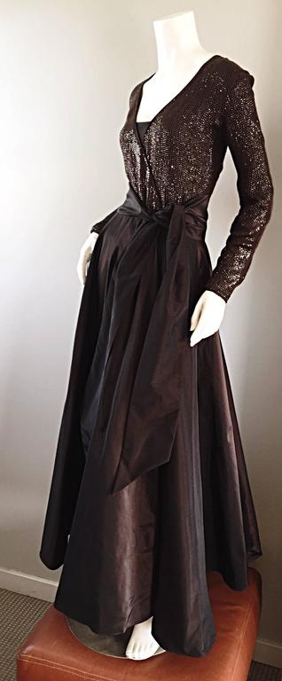 Women's 1990s Pamela Dennis Couture Size 8 Vintage Chocolate Brown Sequin Taffeta Gown For Sale