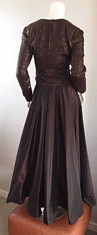 1990s Pamela Dennis Couture Size 8 Vintage Chocolate Brown Sequin Taffeta Gown For Sale 3