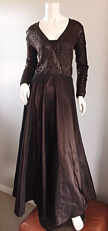 Exquisite vintage 90s PAMELA DENNIS couture, for BERGDORF GOODMAN, chocolate cocoa brown sequined and silk taffeta evening dress! Features all-over hand-sewn small brown sequins throughout the front and back of the bodice. Full taffeta skirt with