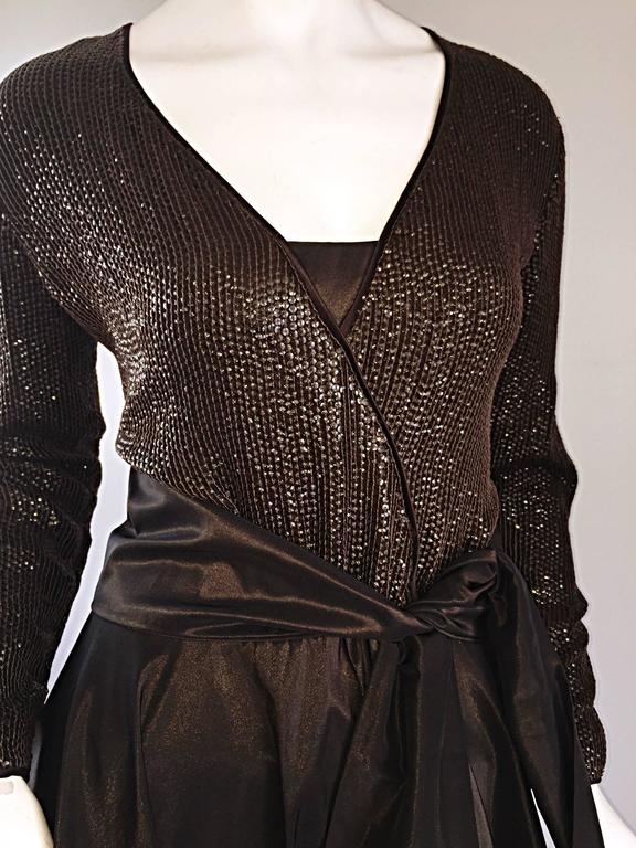 Black 1990s Pamela Dennis Couture Size 8 Vintage Chocolate Brown Sequin Taffeta Gown For Sale