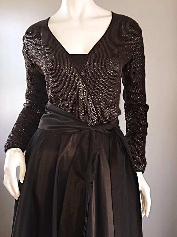 1990s Pamela Dennis Couture Size 8 Vintage Chocolate Brown Sequin Taffeta Gown For Sale 1