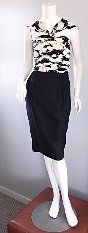 Valentino Vintage Black And White Silk Ruched Op Art