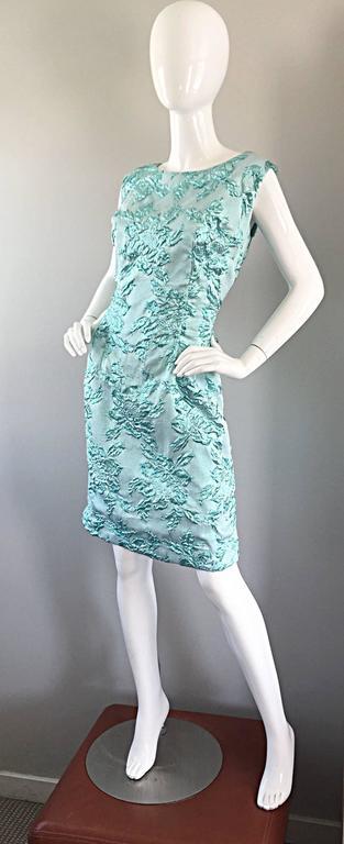 Beautiful 1960s Light Blue Silk Metallic Lurex Teal Embroidered 50s Wiggle Dress For Sale 3