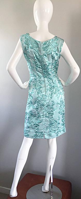 Beautiful 1960s Light Blue Silk Metallic Lurex Teal Embroidered 50s Wiggle Dress For Sale 2