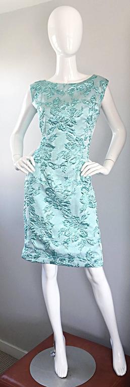 Beautiful 1960s Light Blue Silk Metallic Lurex Teal Embroidered 50s Wiggle Dress For Sale 1