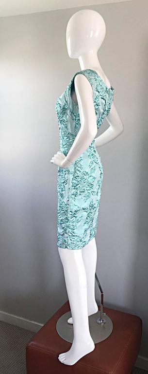 Beautiful 1960s Light Blue Silk Metallic Lurex Teal Embroidered 50s Wiggle Dress For Sale 4