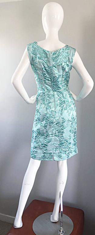 Beautiful 1960s Light Blue Silk Metallic Lurex Teal Embroidered 50s Wiggle Dress For Sale 5