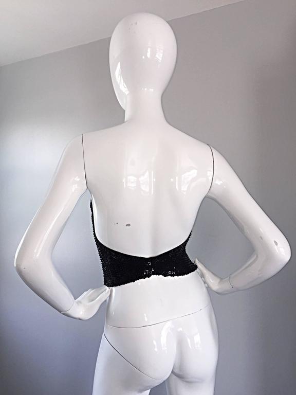 Vintage Dana Deatherage Black Sequin + Rhinestone + Beaded Corset Bustier Top For Sale 1